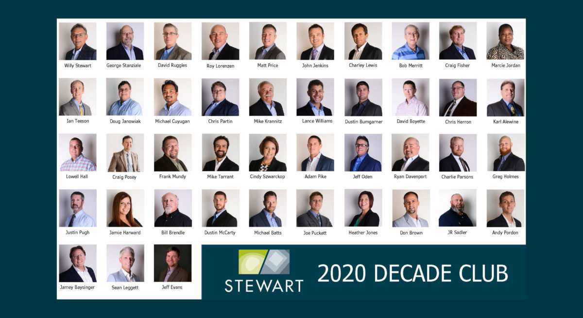 Congrats to the 2020 Stewart Decade Club!