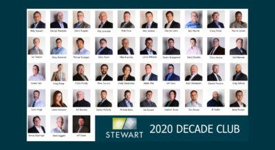 Congrats to the 2020 Stewart Decade Club!