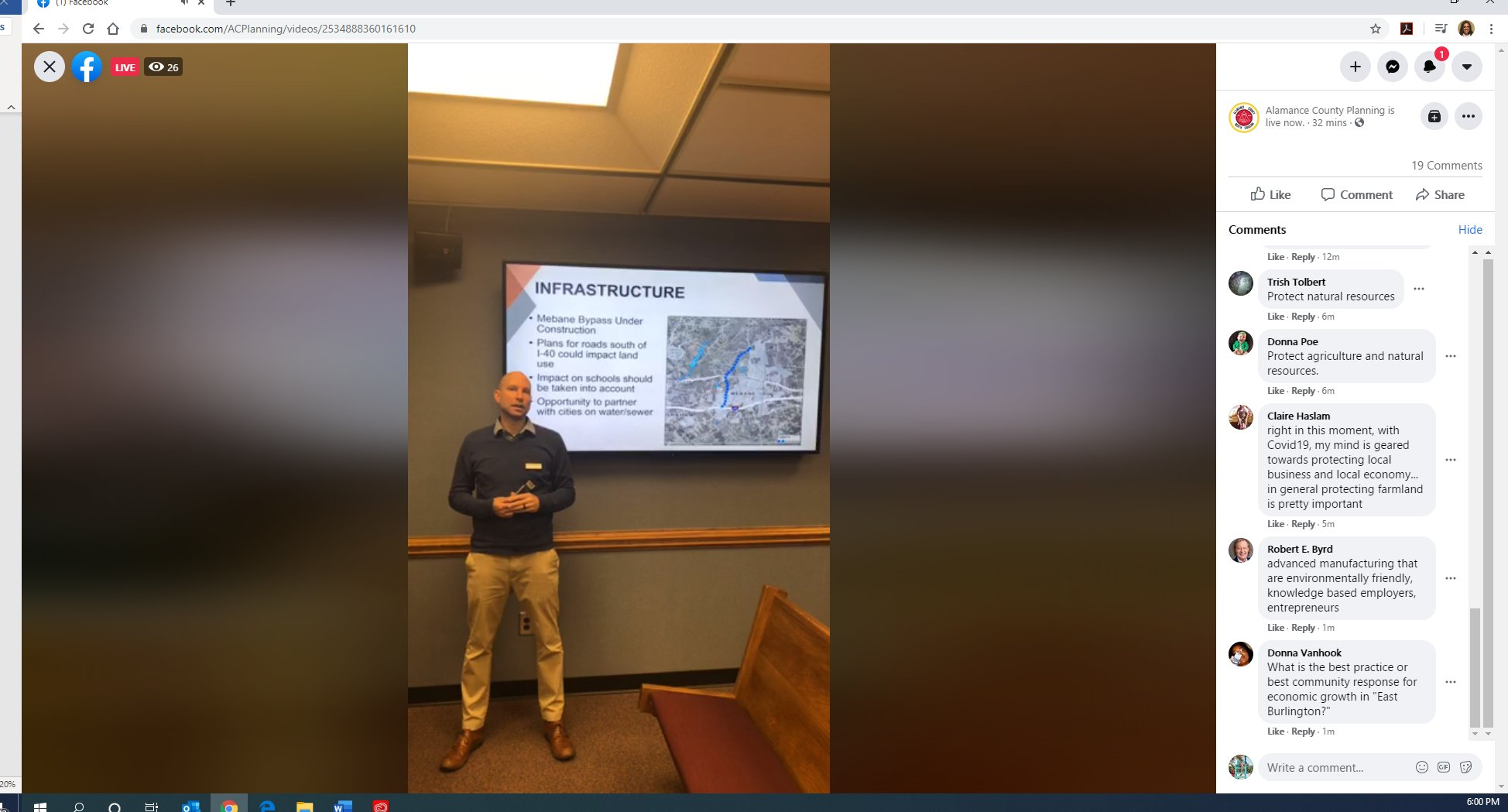 Jake holds public meeting via Facebook for Alamance during social distancing 032420