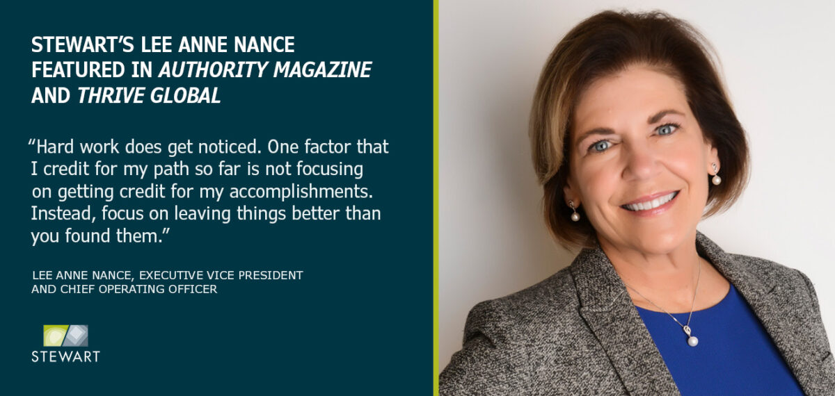 Stewart's Lee Anne Nance Featured in Authority Magazine and Thrive Global